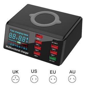 100 Вт 8 портов, мульти USB Быстрое беспроводное зарядное устройство для IPhone 11 Pro Max Quick Charge 3,0 PD зарядное устройство для Samsung S10 S9 S8 EU/US/UK /AU