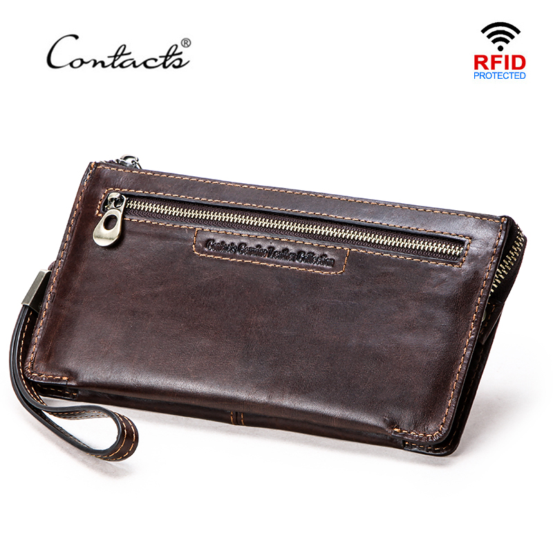 CONTACT'S Brand Men Wallets Vegetable Leather Long Purse Male Clutch Phone Bag Wristlet Zipper Pocket Card Holder RFID Carteira