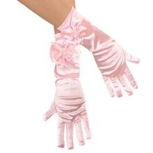 Детское платье с перчатками для танцев на день принцессы длинные перчатки принцессы платье для девочек Аксессуары детский атласный перчатки