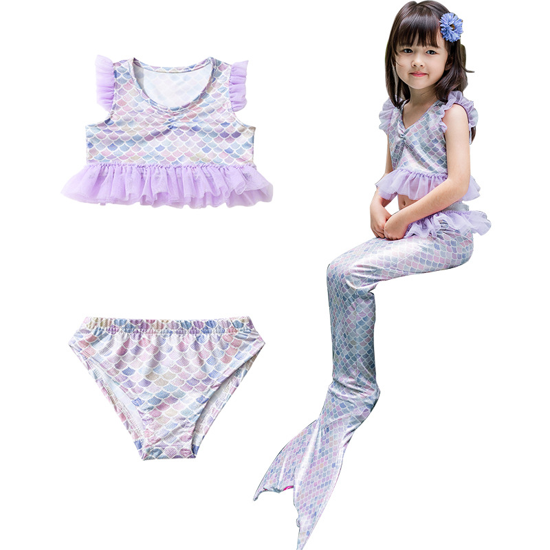 Foreign Trade Childrenswear New Style Girls Colorful Bathing Suit South Korea KID'S Swimwear GIRL'S Swimming Three-piece Set A G