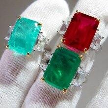 Bague en argent Sterling 925, imitation Moissanite rose, rubis Paraiba, Tourmaline, diamant, émeraude, cadeau de fiançailles pour femmes