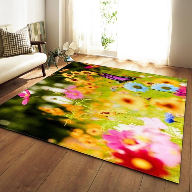 11 Kinds Flowers Large Carpets Romantic Rose Big Parlor Mat Soft Flannel Sunflower Rugs Home Decorative For Living Room Bedroom