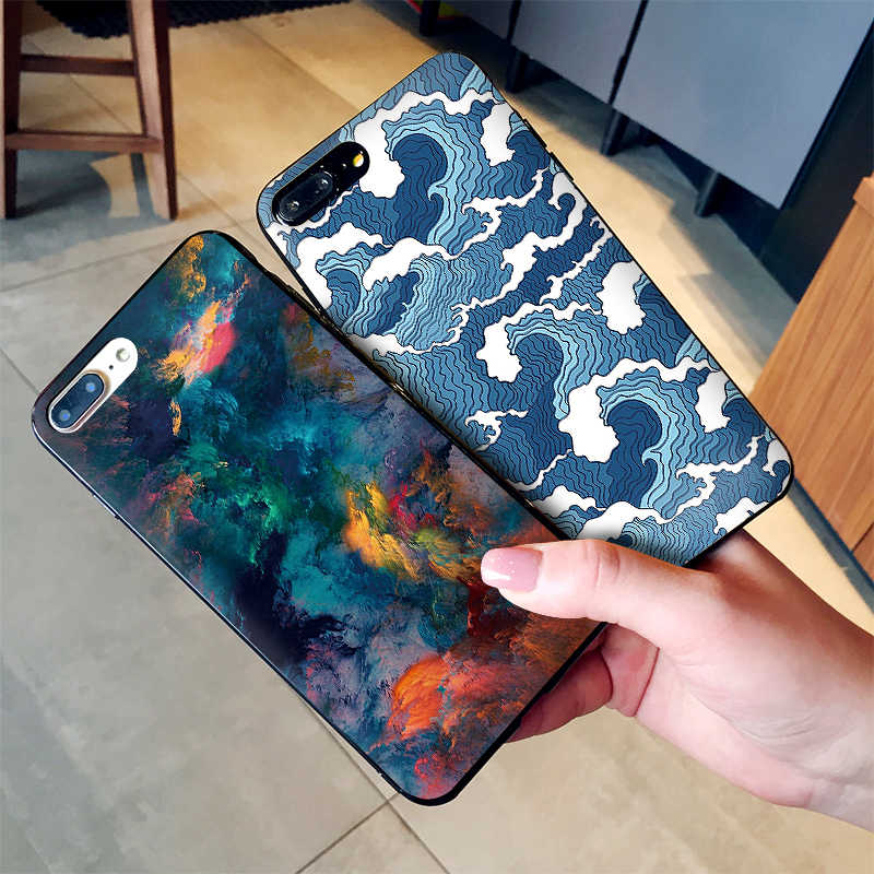ダーク芸術気軽と混合波ソフトシリコーン電話ケース iphone のための X XS 最大 XR iphone 7 8 6 6s Tpu バックカバー