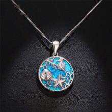 Boho feminino grande estrela do mar cavalo pingentes colares de prata cor casamento colares para mulheres boho azul fogo opala colar