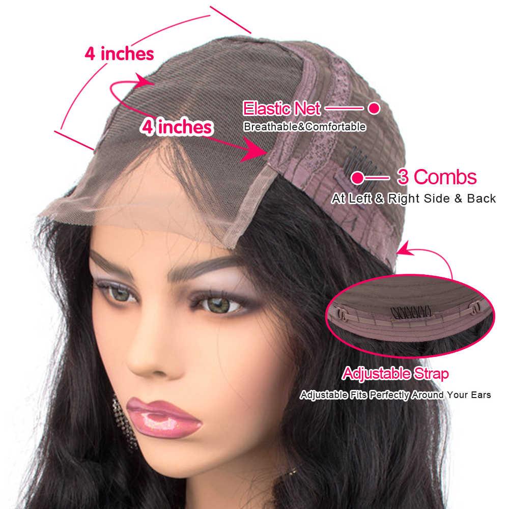 Allrun 4*4 Vetersluiting Pruik Maleisië Lace Front Human Hair Pruiken Body Wave 150% Met Baby Haar Niet remy Pruiken Voor Zwarte Vrouwen