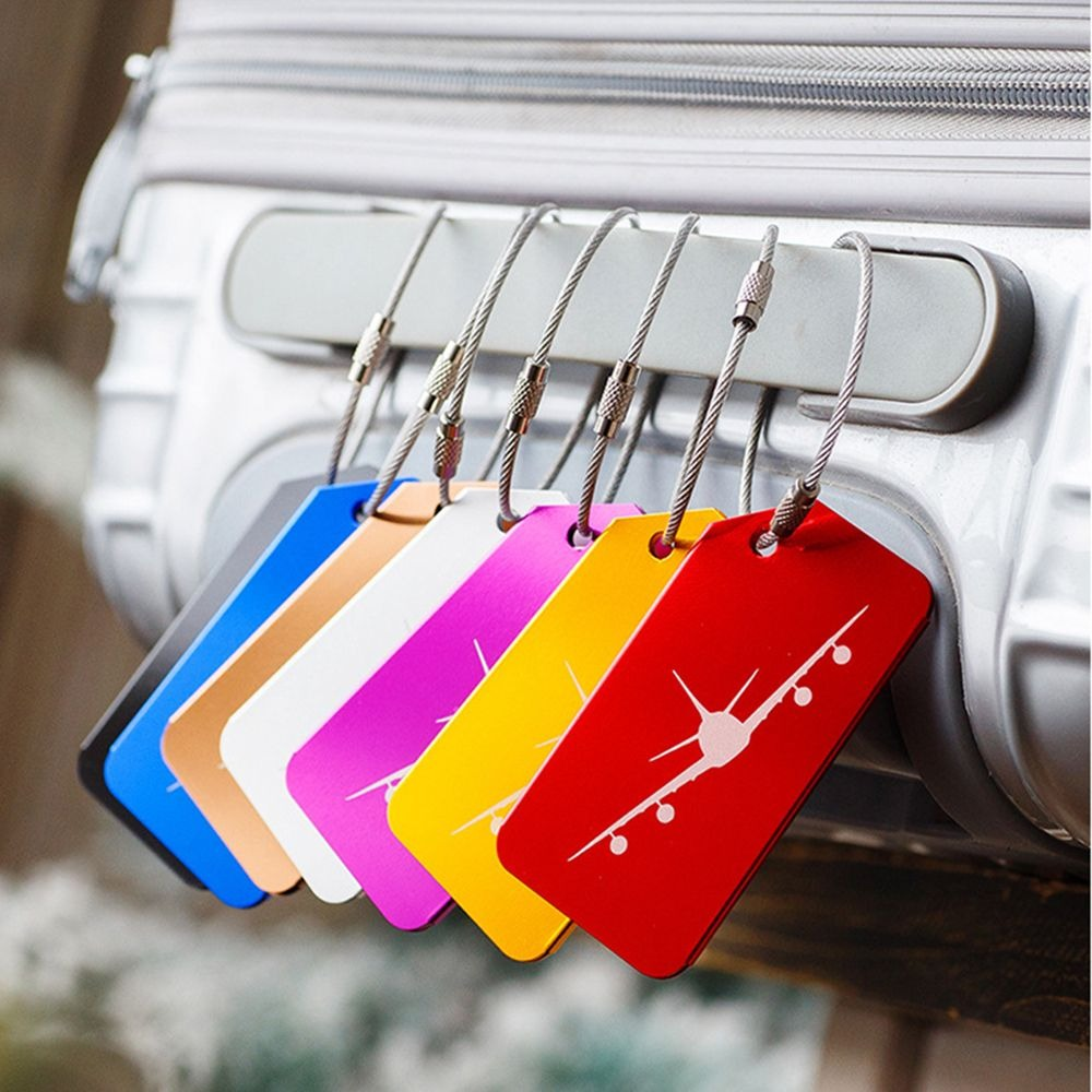 7pcs/pack Aluminium Alloy Luggage Tags Baggage Name Tags Suitcase Address Label Holder Travel Accessories 5 Colors