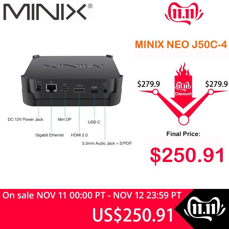 MINIX NEO J50C-4 Official WINDOWS 10 PRO SERIES MINI PC Intel Pentium Silver J5005 DDR4 4GB/64GB HDMI 2.0 Vesa Mount MINI PC
