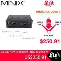 MINIX NEO J50C-4 Offizielle WINDOWS 10 PRO SERIE MINI PC Intel Pentium Silber J5005 DDR4 4 GB/64 GB HDMI 2,0 Vesa Mount MINI PC