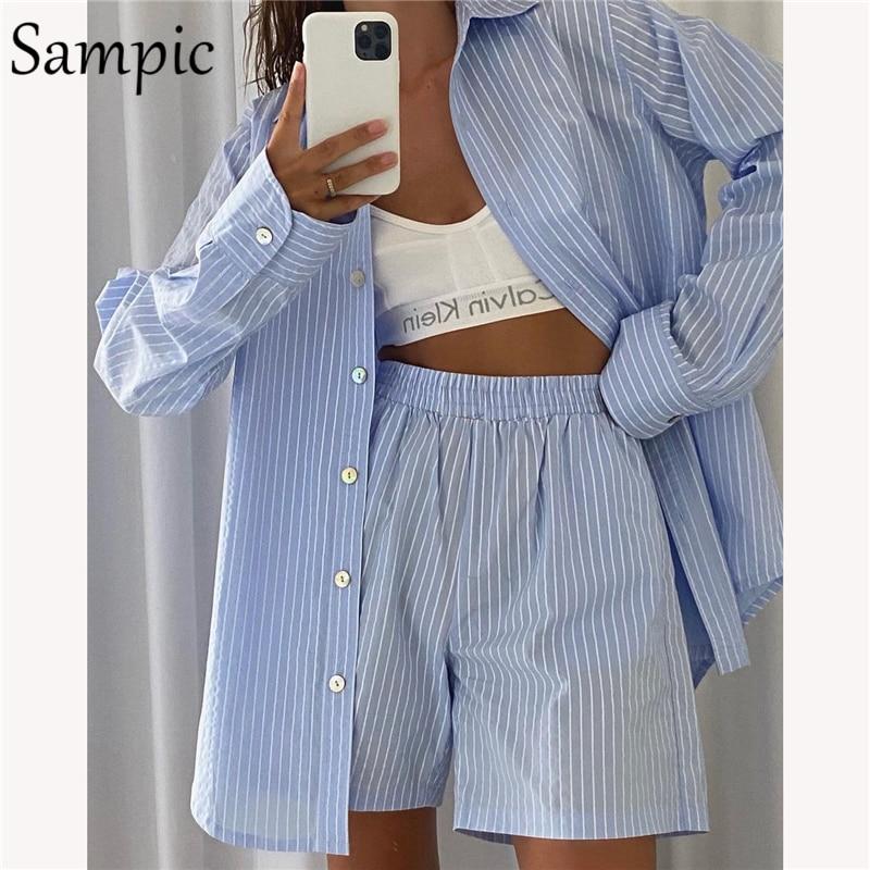 Sampic loung wear agasalho feminino shorts definir listra manga longa camisa topos e solto cintura alta mini shorts de duas peças conjunto 2021