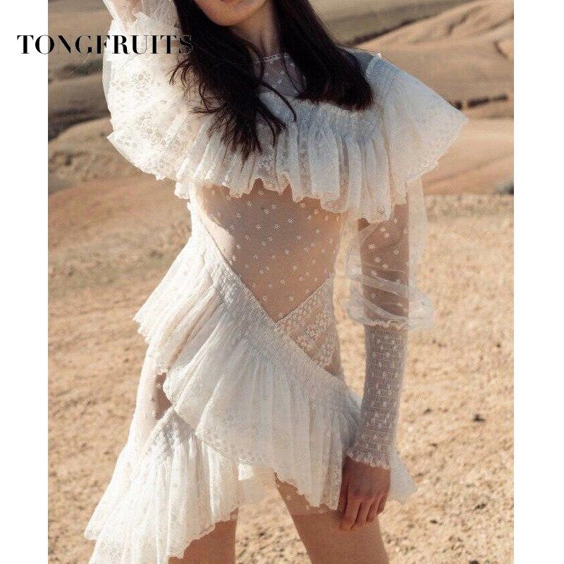 Sexy dentelle côté robe piste concepteur Transparent vague point imprimé asymétrique Mini robe