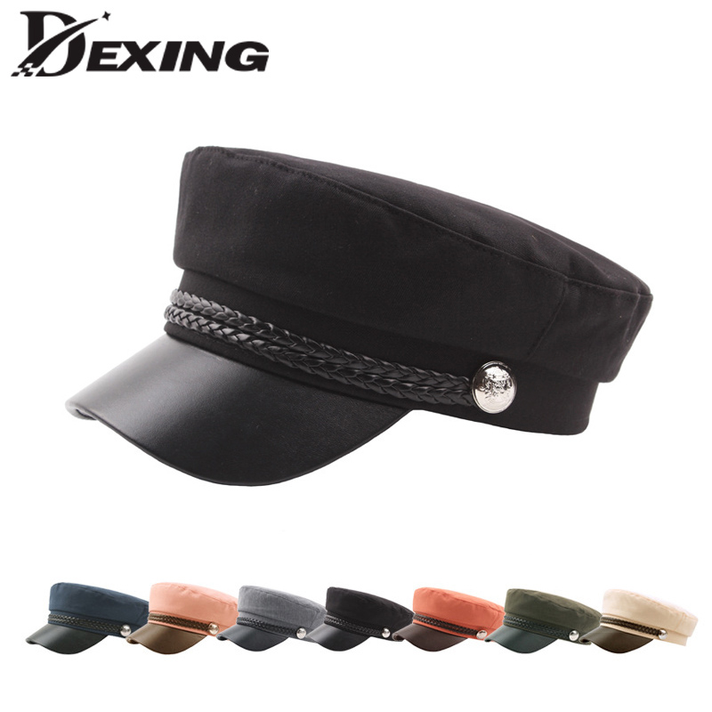 Casual Cotton Military Cap Man Woman Pu Leather Beret Flat Hats Captain Cap Trucker Vintage Black Sport Dad Bone Cadet Hat