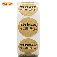 500PCS Circular Gold Foil Handmade With Love Sticker Label Natural Kraft Paper Adult Birthday Party Decoration Gift Boxe