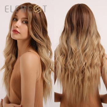 Element Middle Part Long Natural Wave Synthetic Ombre Brown to Blonde Cosplay Party Wigs for White/Black Women wignee hand made front ombre color long blonde synthetic wigs for black white women heat resistant middle part cosplay hair wig