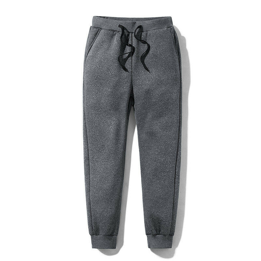 Men Thick Fleece Thermals Trousers Outdoor Winter Warm Casual Pants Joggers Sports LXH