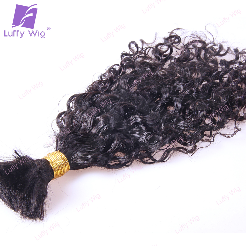 Loose Curly Bulk Human Hair For Braiding Mongolian Remy Hair No Weft Bundles Natural Black Color 100g/pc 1pc/lot Luffywig