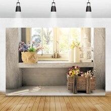 Laeacco 올드 하우스 발코니 창 화분 식물 해바라기 사진 배경 사진 배경 봄 초상화 Photocall 소품