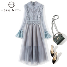SEQINYY Elegant Midi Dress 2020 Summer Spring New Fashion Design Long Sleeve Women Lace High Quality Splice Mesh