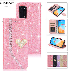 Diamond Case For Huawei P30 Lite P40 P20 Pro P8 Lite 2017 P10 P9 Mate 20 Lite 10 Pro Bling Leather Wallet Flip Stand Phone Cover