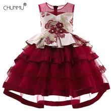 Детское кружевное платье-пачка принцессы для девочек, элегантное платье с вышитыми цветами для дня рождения, вечерние платья для девочек Од...
