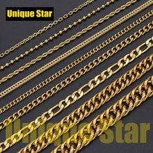 3 adet/grup 5 katmanlar altın kaplama temel kolye zinciri toptan 100% paslanmaz çelik tilki kuyruğu Figaro halat Hip Hop kolye zincirleri