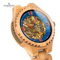 Automatische Maschinen Uhren BOBO VOGEL Holz Wasserdicht männer Uhren Luxus Neue Design Nehmen Kunden Bambus Geschenk Box-in Mechanische Uhren aus Uhren bei