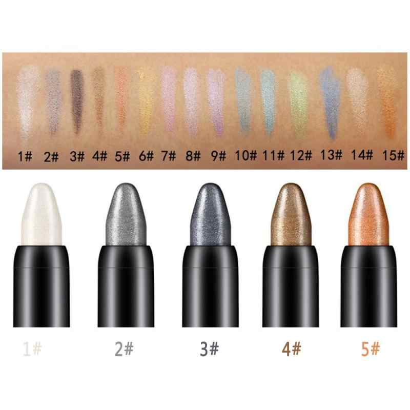 1 Pc Warna Eyeshadow Stick Mutiara Luminous Eye Shadow Pena Stabilo Berbohong Ulat Pensil Tahan Air Tahan Lama Makeup TSLM1