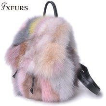 2019 New Real Fox Fur Handbags 100% Single Shoulder Bags Colorful Genuine Leather Winter Fashion Wrist Luxury