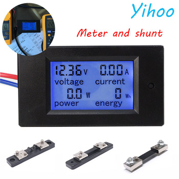 20A/50A/100A Digital DC 6.5-100V Voltmeter Ammeter LCD 4 in 1 DC Voltage Current Power Energy Meter Detector Amperimetro Shunt 6 in 1 digital ac 20a 100a voltage energy meter voltmeter ammeter power current panel watt combo indicator 110v 220v lcd o17