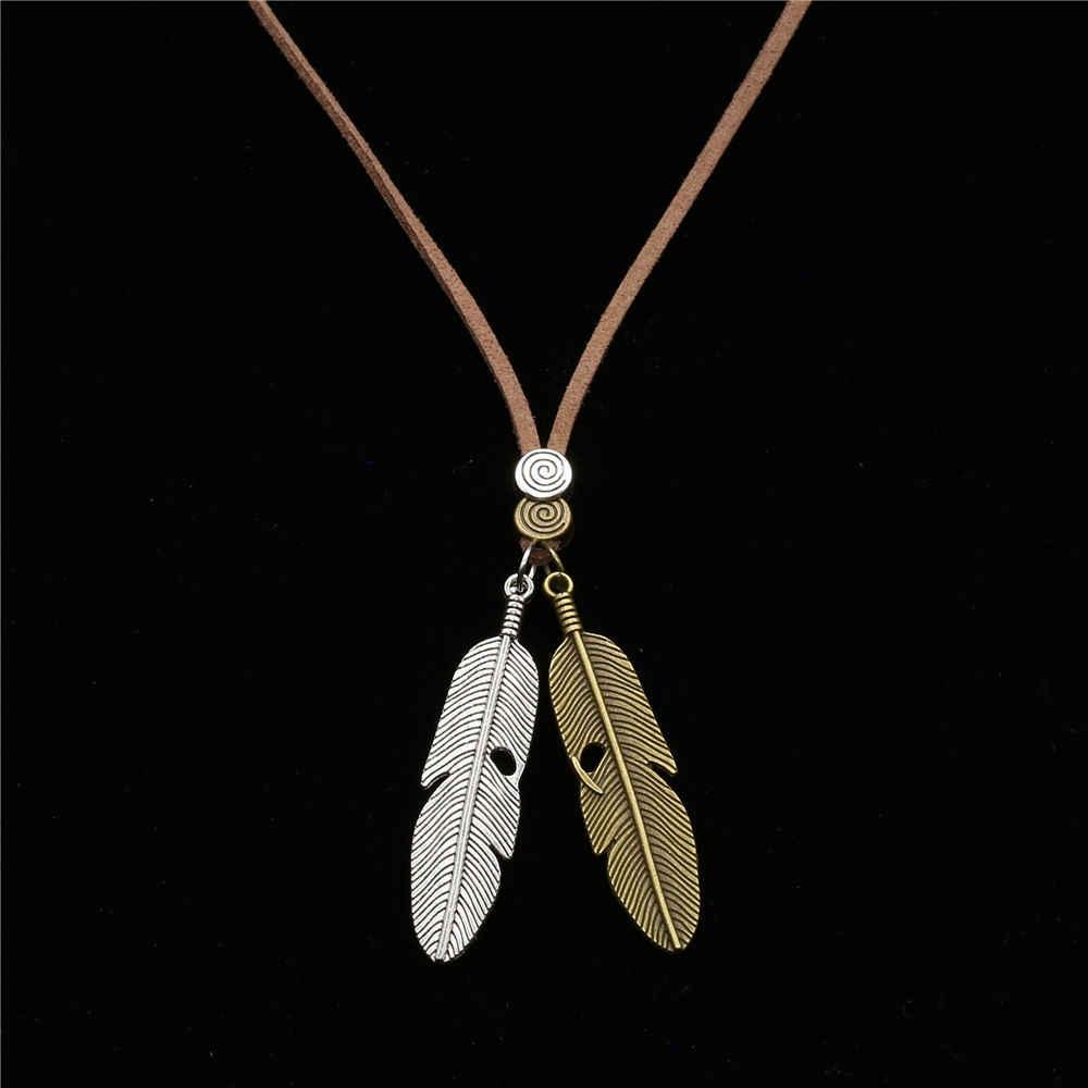 Nowy Boho niestandardowe sweter choker łańcuszek długi naszyjnik muzyka uwaga anioł skrzydło wisiorek z piórkiem mężczyźni naszyjnik kobiety biżuteria bijoux femme