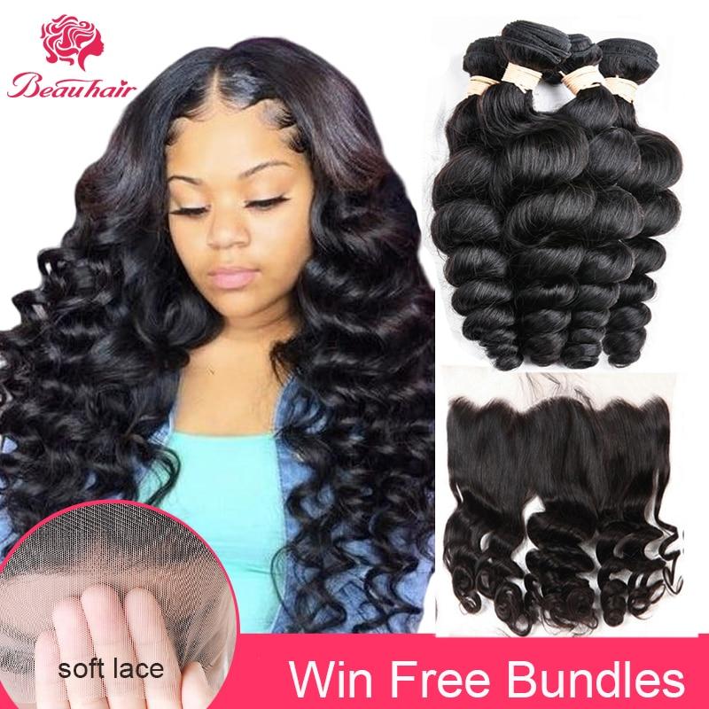 Beauhair Brazilian Human Hair Weave Bundles With Frontal Remy Human Hair 3 Bundles With Closure Loose Wave Bundles With Frontal