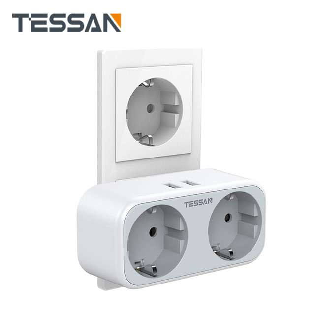 TESSAN EU Plug Sockets Power Strip with 2 USB Ports 2 Outlets Wall Charger Adapter for Home Office Trave Type E/F