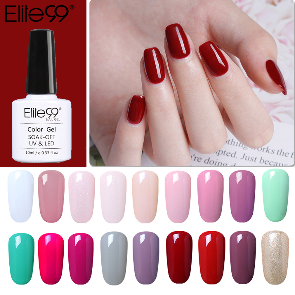 Elite99 Soak Off 10ml Pure Color UV Gel Nail Polish Vernis Semi Permanent Nail UV Polish Hybrid Varnish Nail Art Manicure Nails