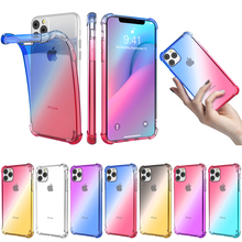 For iPhone 11 pro 5.8 2019 Case Soft TPU Bumper Gradient Color Shockproof Cover for iPhone11 6.1 Pro Max 6.5 Transparent