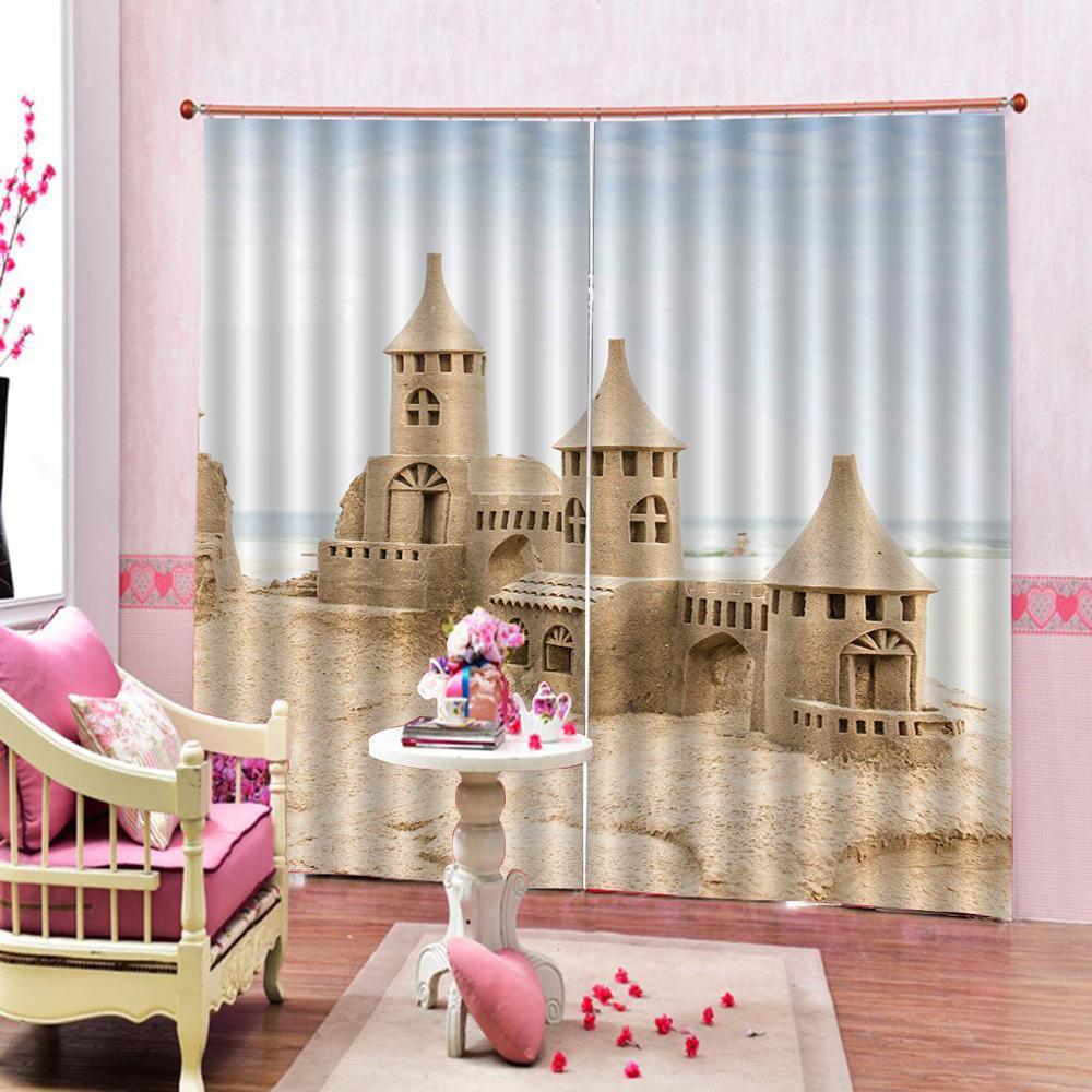 Custom 3D Blackout Curtains Sand sculpture castle Window Curtains For Living Room Bedroom Home Decoration