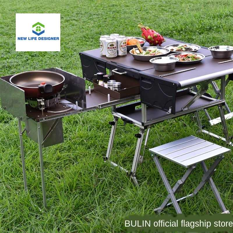 Camping Kitchen Cooking Table Food Prep Food Storage Adjustable