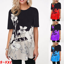 Women's Summer Fashion Printed V-Neck T-Shirt Plus Size Short Sleeved Casual Loose Ladies Tops S-5XL