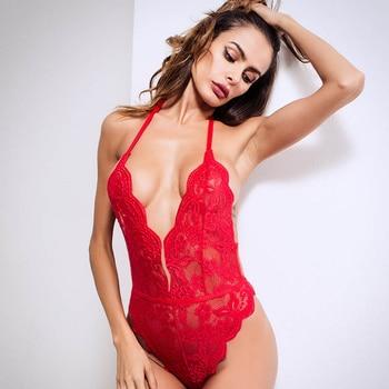 2020 Sexy Bodysuit Backless Jumpsuits Women Deep V Sheer Bodysuits Female Body Hot Sexy Teddies Transparent Halter Lace Bodysuit 4