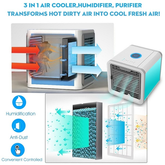 Condizionatore D'aria Portatile USB 7 Colori Luce Umidificatore Purificatore 2