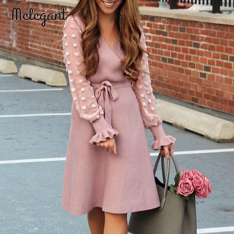 Melegant Mid Elegant Pink Sweater Dress Women Ruffles Patchwork Bow Wrap Dresses Bow Tie Winter Party Dress Vestidos