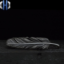 Original Design Feather Pendant Handmade Custom Depth Old 925 Silver Dark
