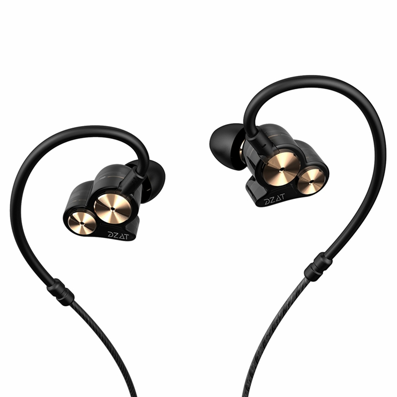 Dzat Dt-05 Double Dynamic Subwoofer Headphones In-Ear Mobile Phone Universal K Song Hanging Ear Sports Music Headphones Black(Wi image