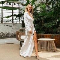 Glamaker блестящий серебристый белый атласный халат для женщин размера плюс макси сексуальные Вечерние Длинное Платье летнее с v-образным выре...