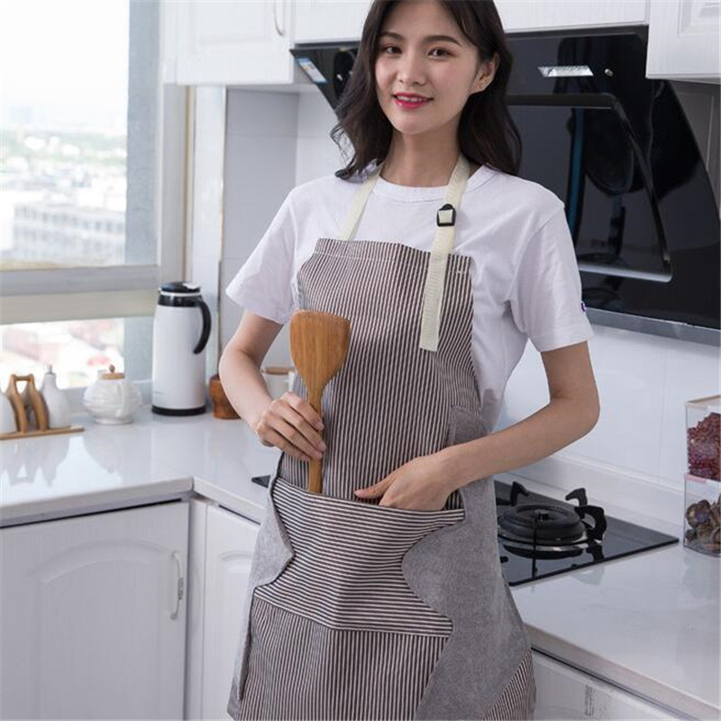 Sunyell Gardening Washing Baking Adjustable Bib Apron with Pocket- Vertical Stripes Waterproof Pinafore Aprons with 2 Towels Stitched Newest for Women and Men Green Cleaning Great for Home Kitchen