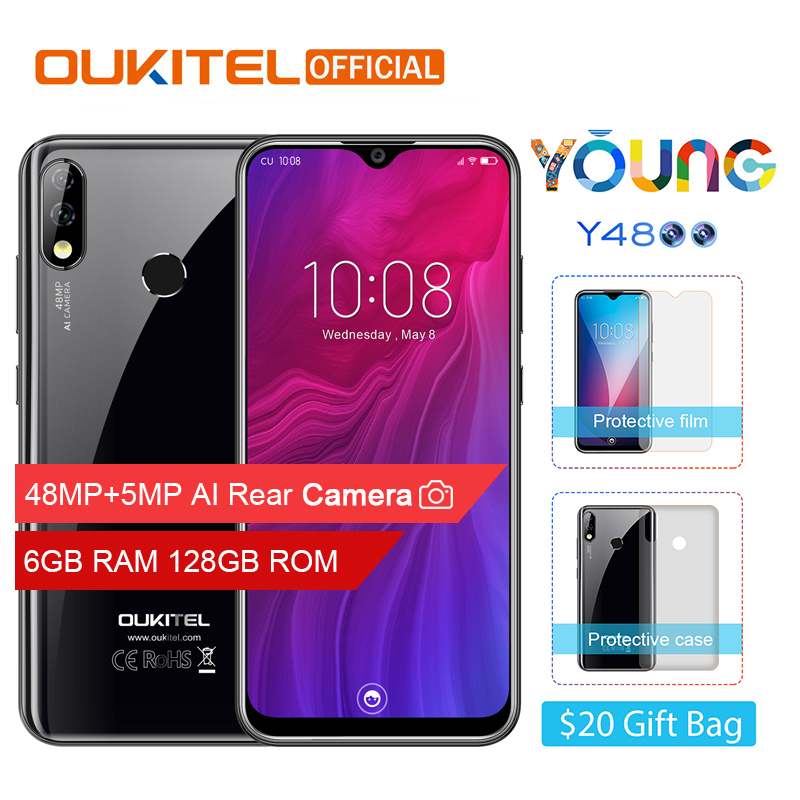 """OUKITEL Y4800 6.3""""19.5:9 FHD+ Android 9.0 Mobile Phone Octa Core 6G RAM 128G ROM Fingerprint 4000mAh 9V/2A Face ID Smartphone"""