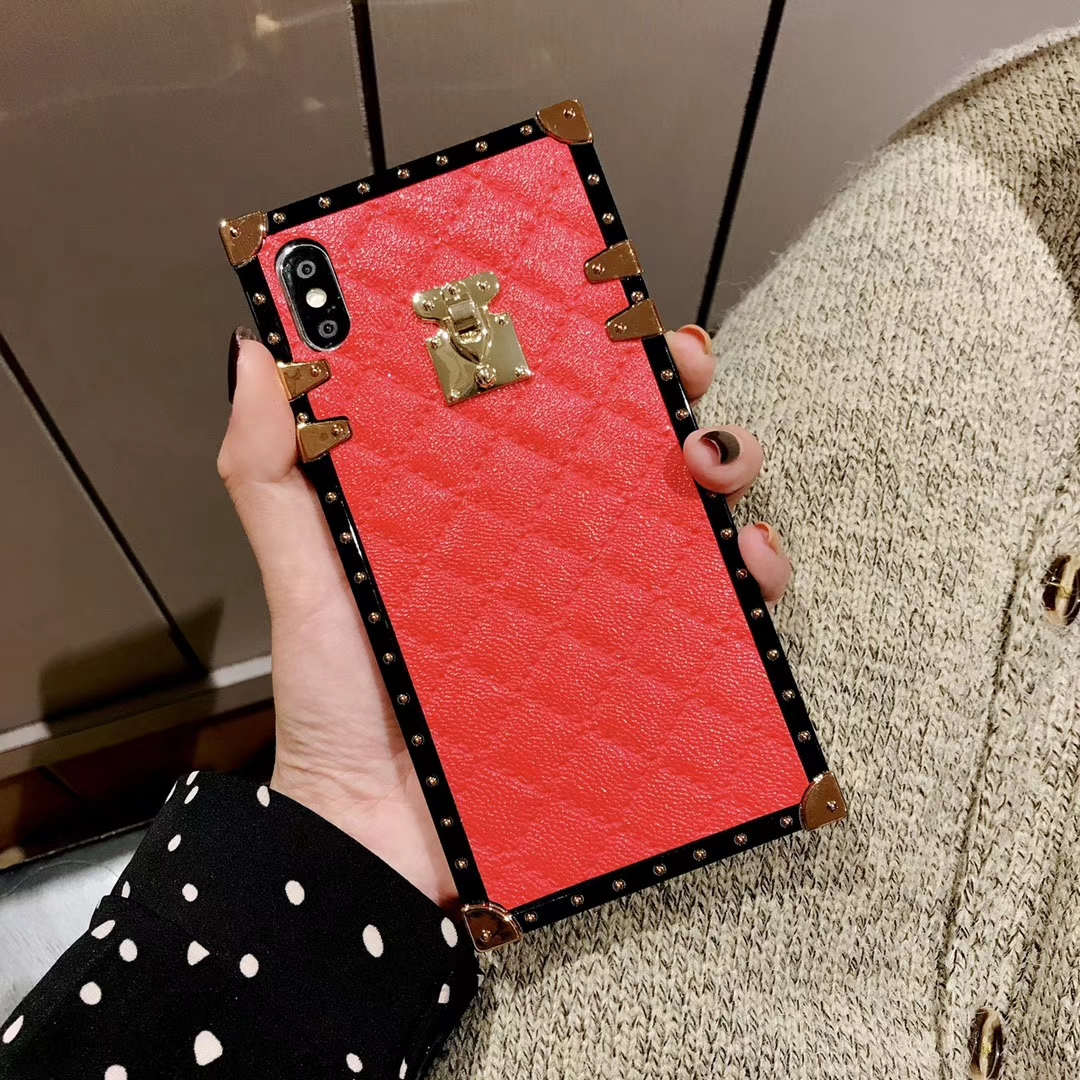 Soft Lambskin PU Leather Cases For iPhone 11 Pro X XR XS Max 8 7 Plus Square Plaid Cover For Samsung Galaxy S9 S10 Plus Note 10
