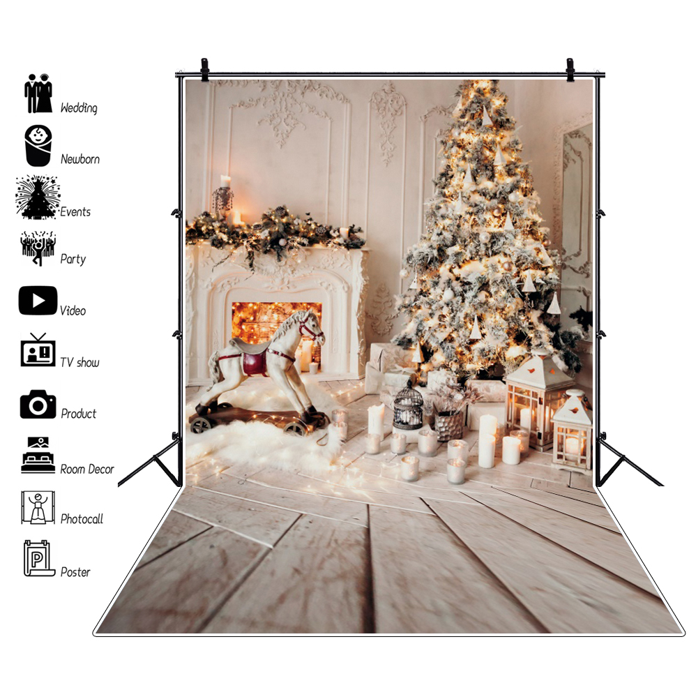 Gray Backgrounds For Photo Merry Christmas Tree Fireplace Floor Gift Candle Family Shoot Photocall Baby Portrait Photo Backdrop