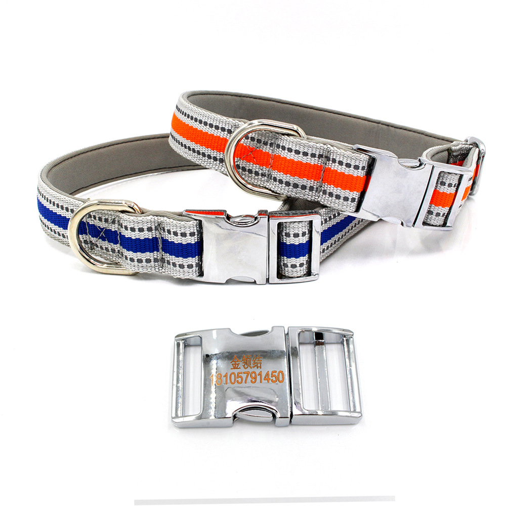 New Style Metal Buckle Lettering Comfortable Lining Nylon Pet Collar Reflective Dog Neck Ring Pet Supplies Amazon