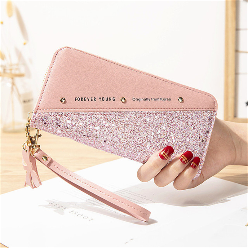 Fashion Sequined Patchwork Clutch Bag Cute Long Money Girl Purse PU Leather Female Designer Luxury Forever Young Wallet Women