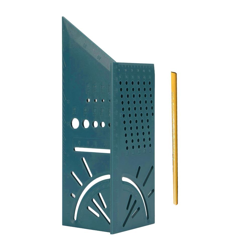 Деревообрабатывающий Scribe Mark Line Gauge Т-образная линейка квадратный макет Miter 90 градусов измерительный прибор плотник - Цвет: Green with pencil