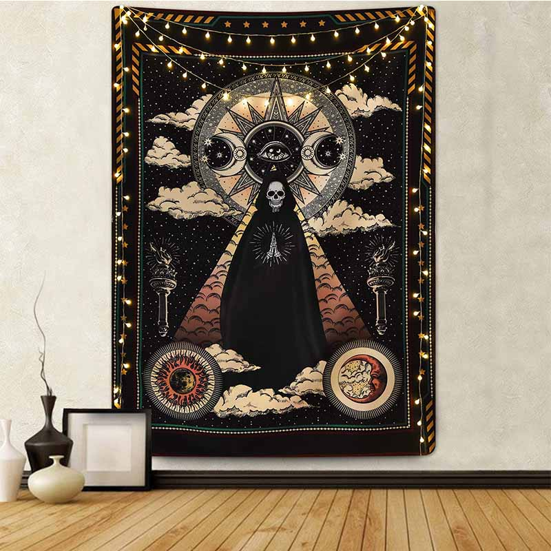 Sun Moon Black Skull Tapestry Wall Hanging Ancient Wall Tapestry Witchcraft Hippie Tapestry Wall Carpets  Psychedelic Tapestry
